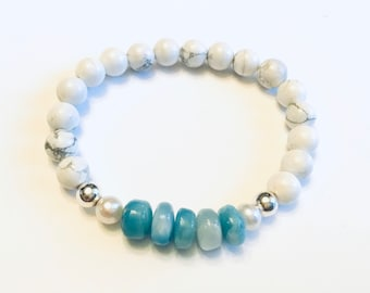 Genuine 5-10mm smooth rondelle larimar beaded bracelet, howlite beads, freshwater pearls, sterling spacer beads