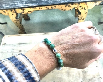 Jade and sterling silver mix, howlite beads, bracelet