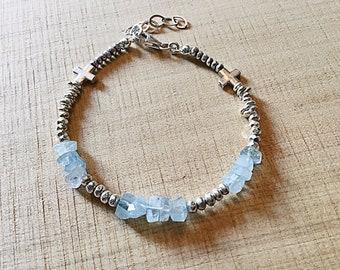 Karen Hill tribe silver mix bracelet with high grade aquamarine freeform rondelles, cross beads