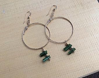Natural deep green tourmaline sticks on 14k gold fill overlapping large hoop earrings