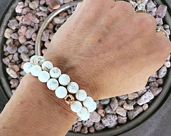 Cream white magnesite 8mm faceted beaded bracelet