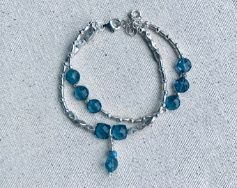 Double wrap London blue quartz coin and cushion beaded bracelet, Karen Hill silver imprint barrel and wheat beads, charm, sterling spacers