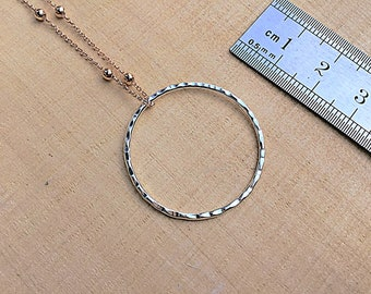 Sterling silver circle pendant necklace, textured on 14k gold fill satellite chain