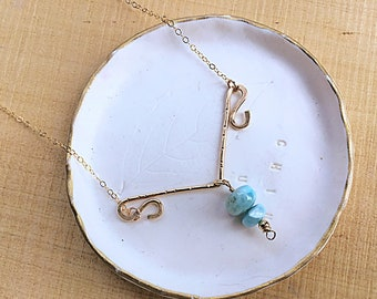 Genuine larimar smooth rondelle bead on 14k gold fill v bar pendant necklace, swirly, textured on 14k gold fill dainty chain