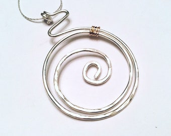 Sterling silver hammered swirly large circle pendant necklace on sterling silver chain