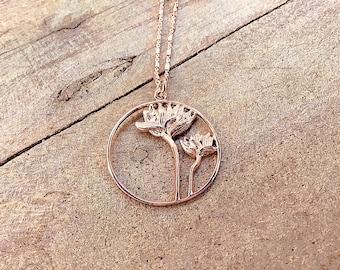 14k Rose gold vermeil over 925 sterling lotus flower pendant necklace