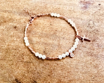 14k Rose gold vermeil over 925 sterling , freshwater pearls, tiny beaded bracelet, Karen Hill Tribe, cross and happy face charms