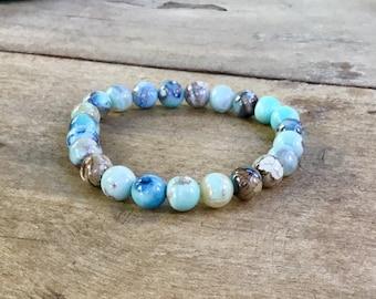 Aqua terra agate, 8mm beaded bracelet