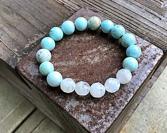 10mm Light green blue turquoise beaded bracelet with faceted rainbow moonstone beads, stacking