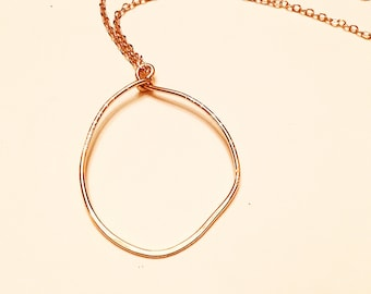 14k gold fill  hammered freeform circle large pendant necklace, textured on 10k gold plated chain