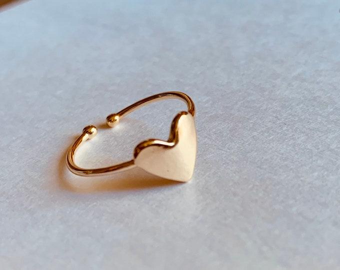 18k Gold plated heart ring, minimalist, adjustable, midi