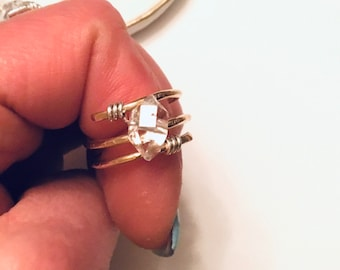 Herkimer diamond solitaire stone ring on 14k gold fill wire, swirling, wraparound , thick,textured,sterling, solitaire, april birthstone