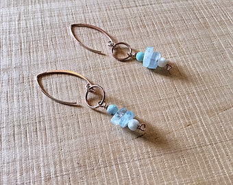 14k rose gold fill earrings with high grade aquamarine rondelles and natural larimar beads