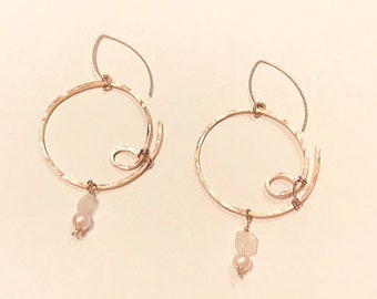 14k Gold fill hammered large circle hoop earrings, freshwater pearls, moonstone rectangles on rose gold plated fancy ear wires