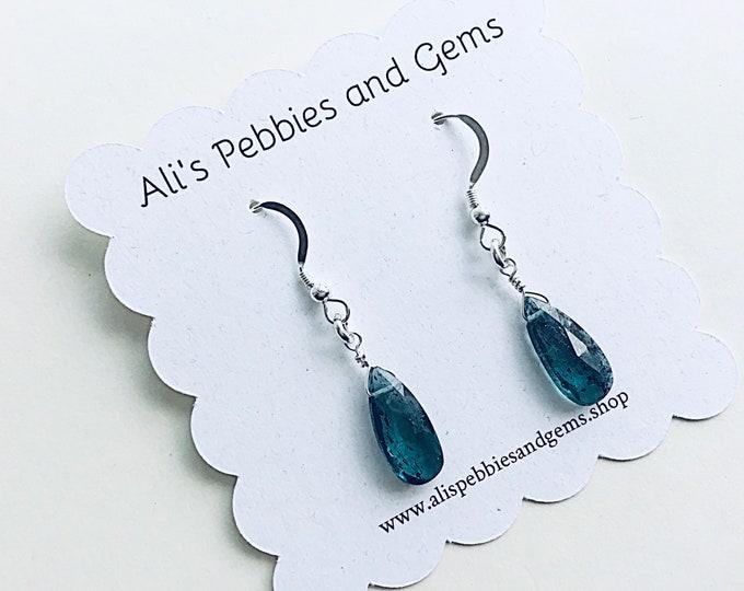 Moss kyanite teardrop briolette beaded earrings on sterling ear wires