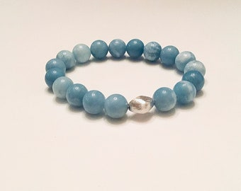 10mm larimar quartz beaded bracelet, sterling nugget feature bead, stretch, large