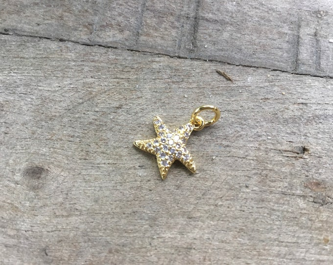 14k gold filled micro  pave cubic zirconia starfish charm