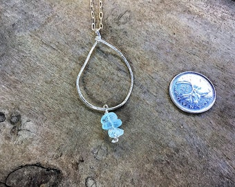 Sterling silver hammered freeform circle pendant necklace, aquamarine charm, on sterling silver chain
