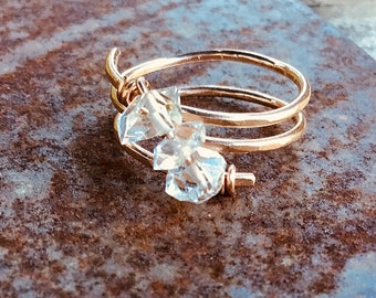 Herkimer diamond trio stone ring on 14k rose gold fill wire, swirling, wrap around , thin,textured, 3 stone, april birthstone