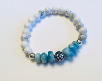 Genuine 5-10mm smooth rondelle larimar beaded bracelet, howlite beads with sterling spacer beads, sterling vine bead