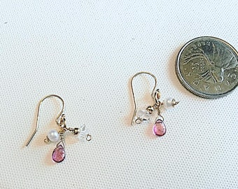 Pink tourmaline, herkimer diamond and pearl drop earrings on 14k gold fill ear wires,dainty