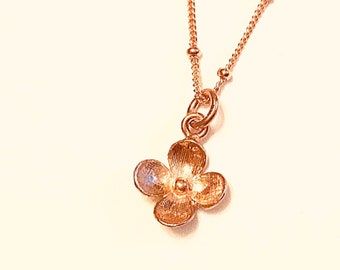 14k Rose gold vermeil over 925 sterling flower pendant necklace, satellite chain, minimalist