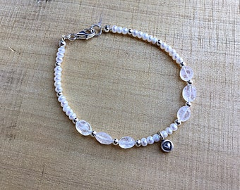 Rainbow moonstone pebbles with tiny freshwater pearls and sterling spacers,beaded bracelet, Karen Hill silver heart charm