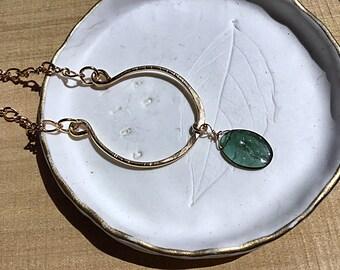 Green tourmaline briolette on 14k gold fill horseshoe pendant, textured, figure eight chain