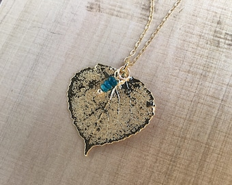 Genuine aspen leaf in 24k gold pendant with green opal rondelles charm on gold plated chain, necklace