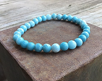 6mm larimar quartz beaded bracelet, stretch, stacking, ocean blue