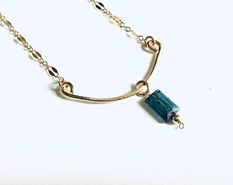 AAA moss blue kyanite baguette on 14k Gold fill textured curved bar necklace, 14k gold fill sequin chain