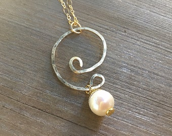 14k Gold fill hammered swirl pendant necklace with pearl charm on 10k gold chain