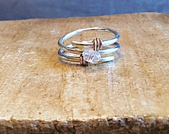 Herkimer diamond ring on sterling silver, wrapped with rose gold,swirling, wrap around, solitaire, april birthstone