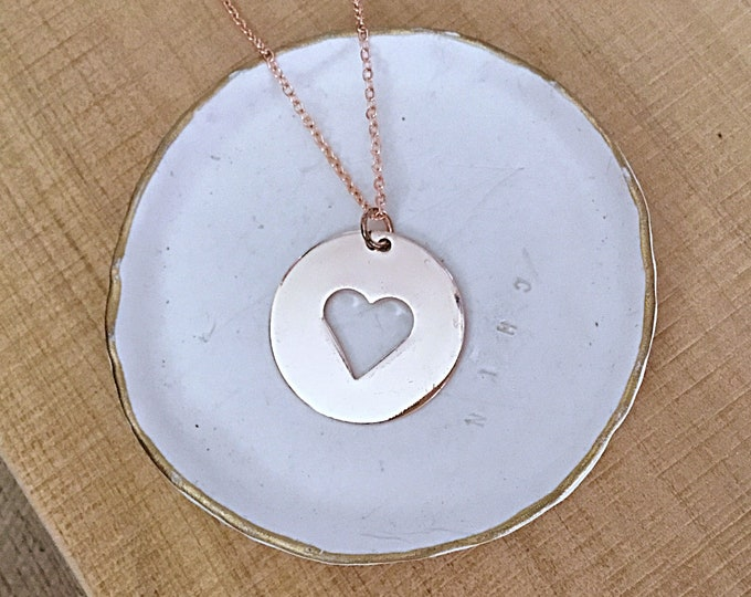 Rose gold minimalist heart disc pendant necklace on rose gold curb chain