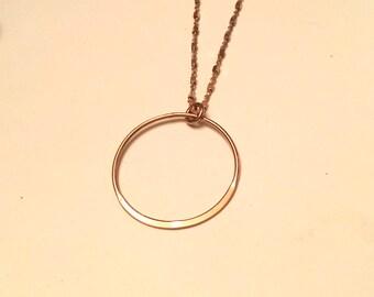 14k Rose gold vermeil over 925 sterling circle pendant necklace, hammered