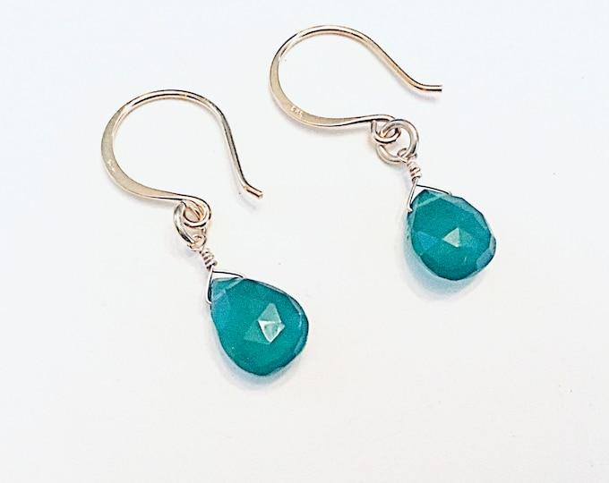 Chalcedony faceted teardrop earrings on 14k gold fill ear wires, green