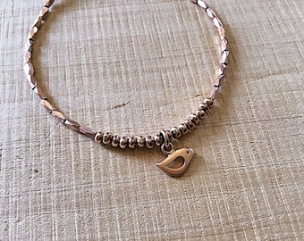 14k Rose gold vermeil over 925 sterling , faceted tiny beaded bracelet, seed beads, Karen Hill Tribe, bird charm