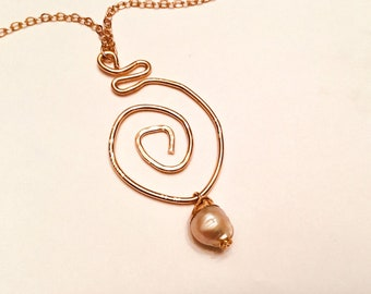 14k Gold fill hammered swirl pendant necklace with pearl charm on 10k gold chain,textured