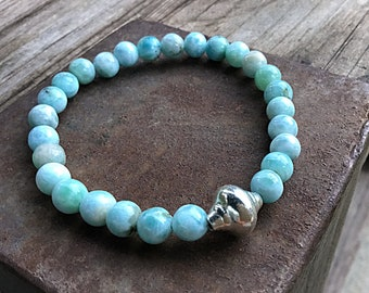 Genuine 6mm ocean blue larimar beaded bracelet with a Karen Hill Tribe silver shell bead