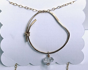 Herkimer diamond, 14k gold fill freeform circle pendant necklace, hammered, overlapping, april birthstone