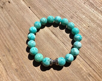 Natural Russian amazonite 10mm round beaded bracelet with sterling double end cap bead