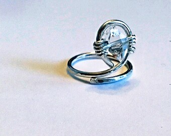 Herkimer diamond ring on sterling silver wire, swirling, wrap around, solitaire, april birthstone