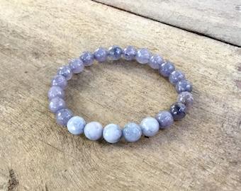 Grey jade faceted 8mm stretch bracelet