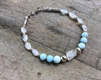 Natural Larimar 6mm beaded bracelet with moonstone pebbles, sterling mixed beads, Karen Hill imprint tube beads