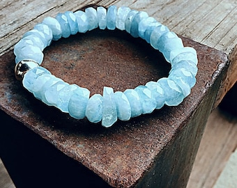 A+ grade Aquamarine high grade rondelle beaded bracelet with 10mm sterling blossom bead, super clarity