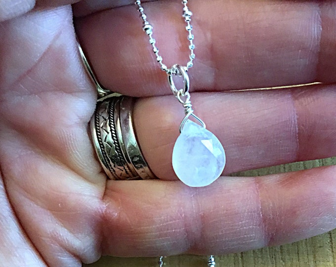 AA rainbow moonstone briolette necklace charm on diamond cut sterling satellite ball chain, minimalist