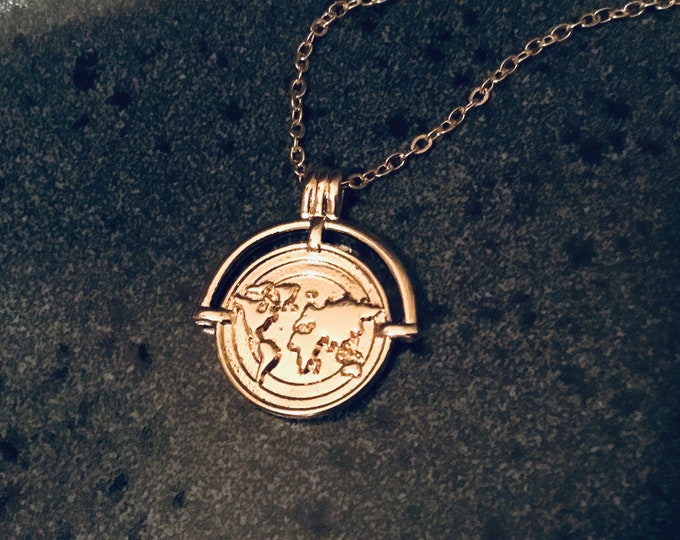 24k gold filled world map coin pendant necklace on 18k gold filled chain, layering necklace, traveller