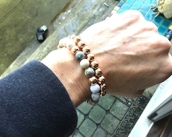 Double stack,Smokey dentritic opal with rose gold accent beads, rose gold hematite 8mm beaded bracelet