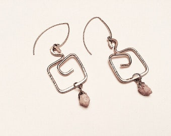 14k Gold fill hammered square earrings,rhodochrosite drops, geometric,on gold plated sparkle ear wires