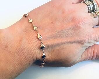 String of hearts Rose gold minimalist heart chain bracelet